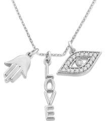 "diamond evil eye, hamsa hand & love charm 18"" pendant necklace (1/10 ct. t.w.) in sterling silver"