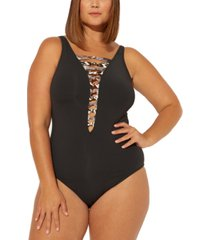 bleu by rod beattie plus size animal-print strappy one-piece swimsuit women's swimsuit