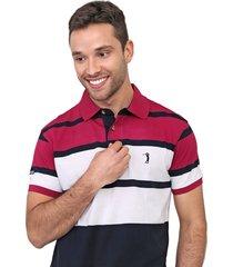 camisa polo aleatory reta listrada azul-marinho/rosa - kanui