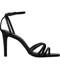 amaro feminino sandália bico quadrado tiras, preto