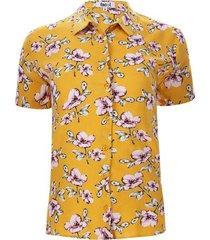 camisa m/c claveles color amarillo, talla l