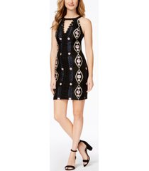 guess embroidered keyhole-neck bodycon dress