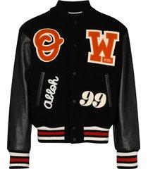 off-white logo-appliqued varsity jacket - black