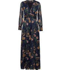 printed maxi dress in sheer lurex stripe quality maxi dress galajurk blauw scotch & soda