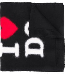 dsquared2 logo embroidered scarf - black