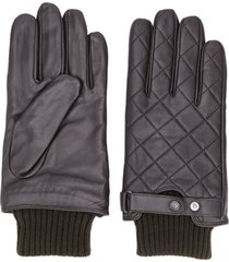 barbour knitted hem quilted gloves - brown