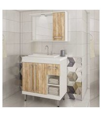 conjunto banheiro 3 portas 1 gaveta nichos lilies móveis