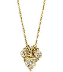 goldplated sterling silver, cubic zirconia & diamonique pendant necklace