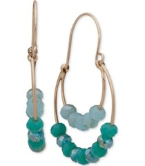 lonna & lilly gold-tone beaded double-row hoop drop earrings