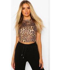 luipaardprint shirt met schouderpads, brown