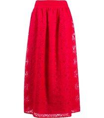 alberta ferretti lace-knit maxi skirt - red