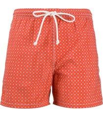 kiton short de natação com estampa geométrica - laranja
