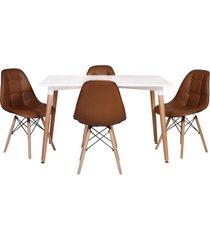 conjunto mesa de jantar impã©rio brazil - incolor/marrom - dafiti