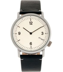 simplify quartz the 5500 silver case, genuine navy leather watch 41mm