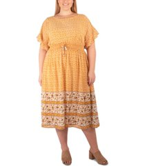 ny collection plus size border-print midi dress