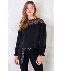 blouse met kanten bloemen zwart