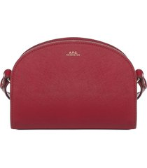 a.p.c. demi lune mini leather shoulder bag