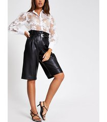 river island womens black faux leather belted cropped trousers