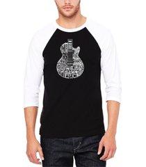 men's rock guitar head raglan baseball word art t-shirt