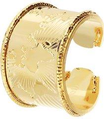 anello mondo a fascia in bronzo dorato per donna