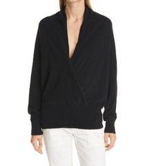 nili lotan lakota cashmere surplice sweater, size large in black at nordstrom