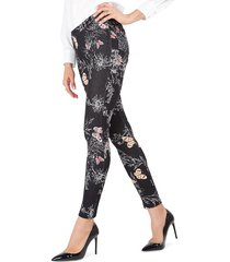 memoi women's extravagant butterfly-print cotton-blend leggings - black - size s/m