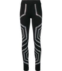 philipp plein crystal embellished leggings - black