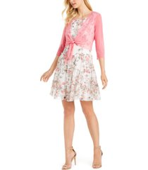 connected petite mesh jacket & floral-print fit & flare dress