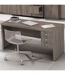 mesa para escritório 3 gavetas carvalho me4113  - tecno mobili