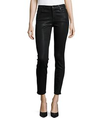 mid-rise ankle skinny coated jeans