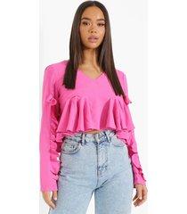 blouse met ruches en v-hals, pink
