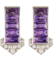 cartier diamond amethyst platinum dress clips