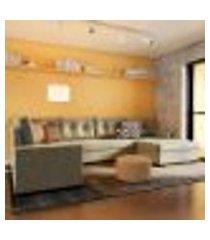 sofá de canto 6 lugares com chaise direito lyon suede animale cinza