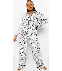 plus sterrenprint pyjama set met biezen, white
