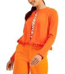 charter club ruffle-hem cardigan, created for macy's