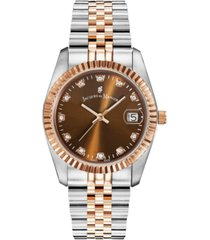 jacques du manoir ladies' two tone silver or gold rose stainless steel bracelet with goldtone case and brown sunray dial and diamond markers, 36mm