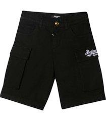 balmain black shorts
