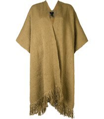 voz woven fringed poncho - green