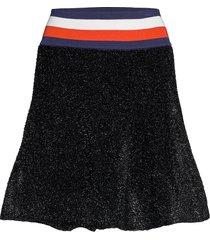 lurex flare skirt kort kjol svart tommy hilfiger