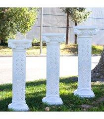 set of 4 plaster coated plastic wedding roman columns decoration backdrop floral