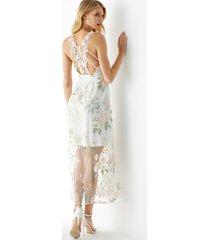 yoins vestido blanco bordado con encaje y espalda descubierta