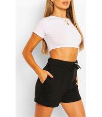 high waist jersey sweat shorts, black