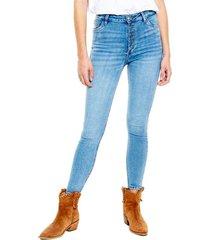 high waist skinny jeans power stretch con botonadura delantera (se sugiere comprar una talla más a la habitual) color blue