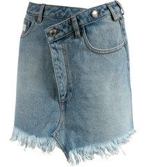 gcds fringed edge denim skirt