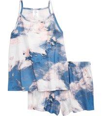 girl's treasure & bond kids' tie dye two-piece tank top & shorts pajamas, size s - white
