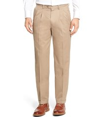 men's big & tall nordstrom men's shop classic smartcare(tm) supima cotton pleated dress pants, size 46 x 32 - brown