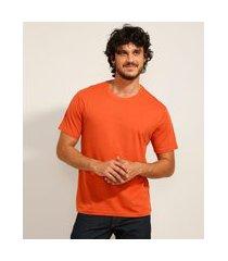 camiseta masculina básica manga curta gola careca laranja