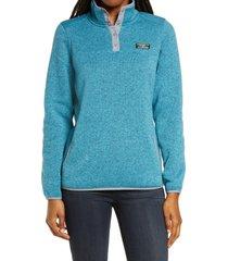 women's l.l.bean sweater fleece pullover, size small - blue