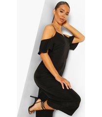 strappy cold shoulder culotte jumpsuit, black
