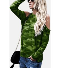 verde camuflaje redondo cuello camiseta de manga larga con hombros descubiertos